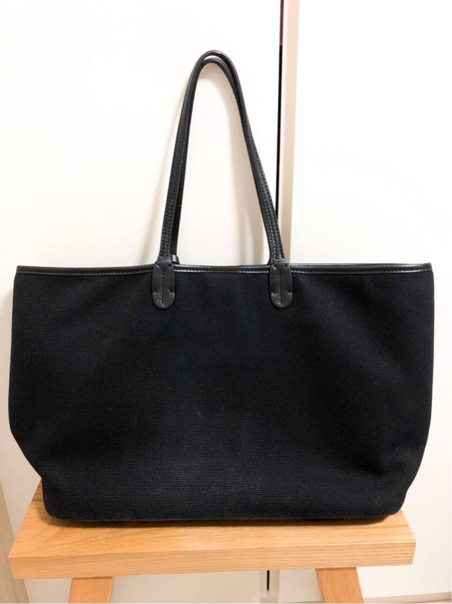 V73(ヴィセッタンタトレ) トートバッグ美品■ 黒×ベージュゴールド / キャンバス×レザー_画像2