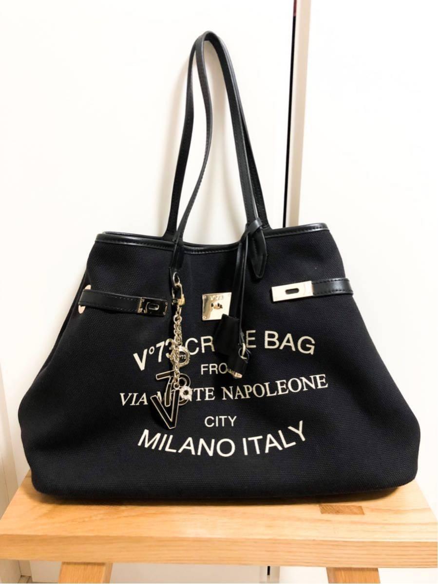 V73(ヴィセッタンタトレ) トートバッグ美品■ 黒×ベージュゴールド / キャンバス×レザー_画像3
