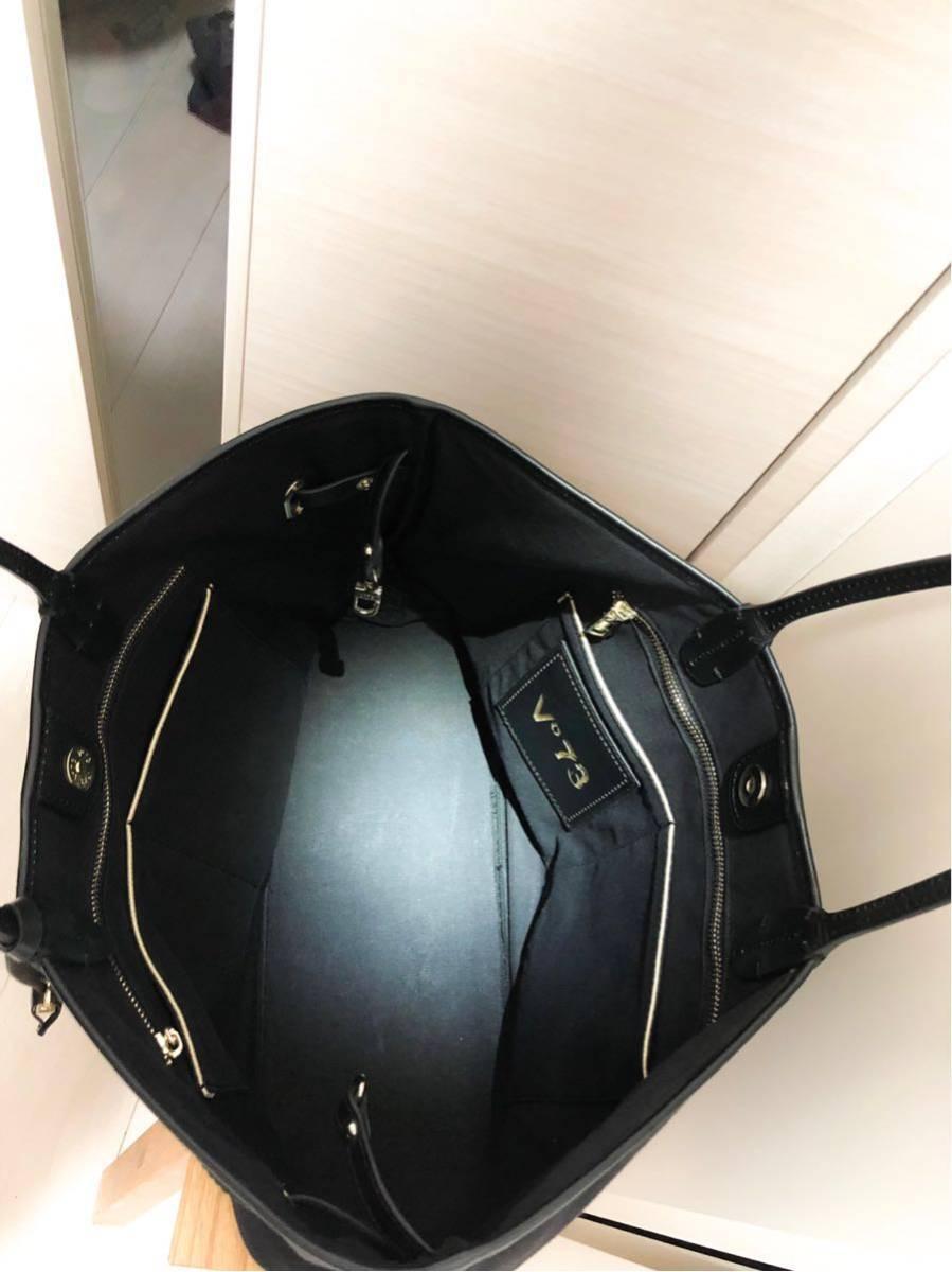 V73(ヴィセッタンタトレ) トートバッグ美品■ 黒×ベージュゴールド / キャンバス×レザー_画像5