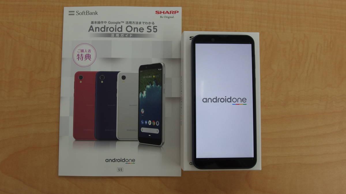 SoftBank andoroid one S5 SHARP ダークブルー ソフトバンク 本体 おまけイヤホン付 #1254