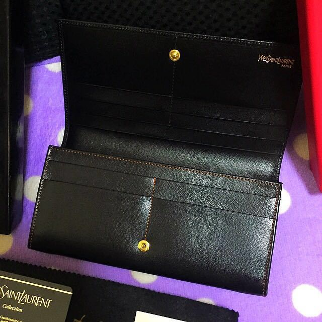 新品 未使用品 希少品 正規品 高級 Yves Saint Laurent イヴサンローラン 型押しロゴ レザー 札入れ カード コインケース 財布 ブラック_画像2