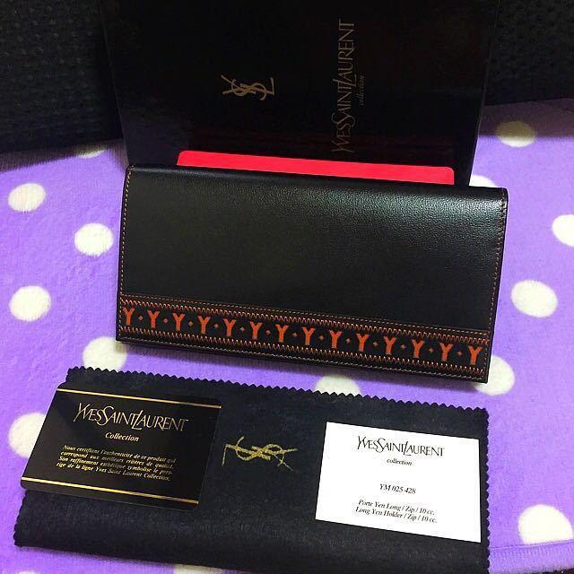 新品 未使用品 希少品 正規品 高級 Yves Saint Laurent イヴサンローラン 型押しロゴ レザー 札入れ カード コインケース 財布 ブラック_画像1
