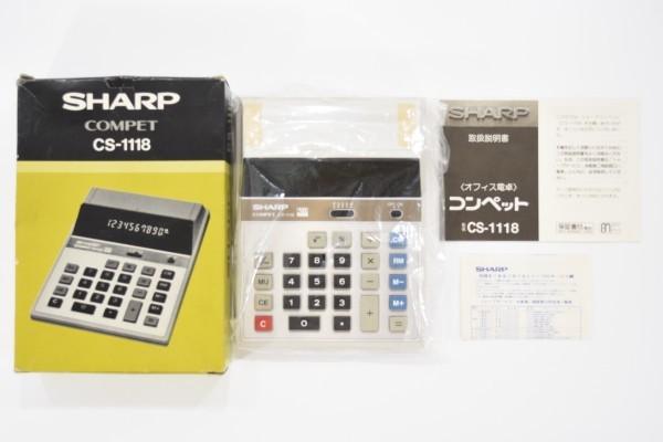 未使用 SHARP COMPET シャープ コンペット CS-1118 計算機 10桁蛍光表示管式卓上 レトロ 電卓 JUN-25-RY-16