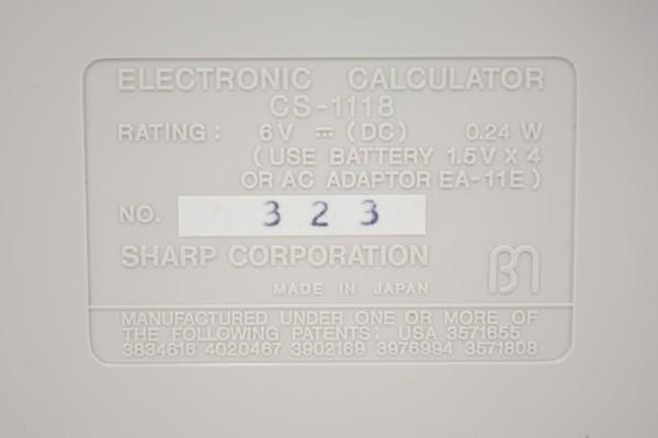 未使用 SHARP COMPET シャープ コンペット CS-1118 計算機 10桁蛍光表示管式卓上 レトロ 電卓 JUN-25-RY-16_画像8