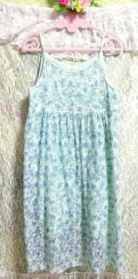 水色グリーンレースキャミソールワンピース Light blue green lace camisole onepiece_画像3