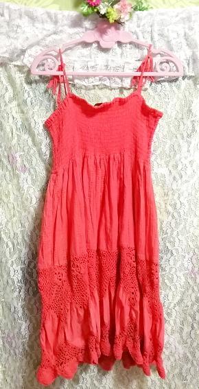 インド製赤ピンク綿コットン100%キャミソールワンピース Made in India red pink cotton 100% camisole onepiece_画像5