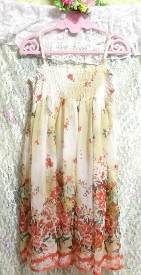 インド製シフォン亜麻色花柄キャミソールワンピース Indian chiffon flax flower pattern camisole onepiece_画像4