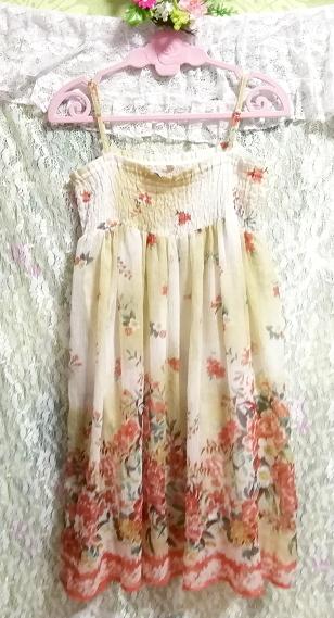 インド製シフォン亜麻色花柄キャミソールワンピース Indian chiffon flax flower pattern camisole onepiece_画像3