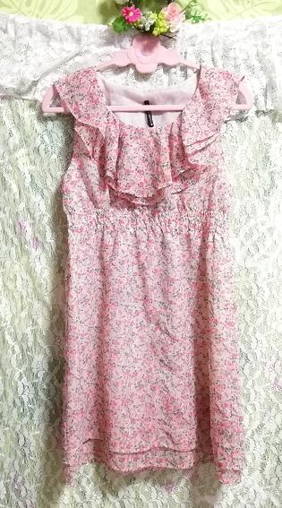 ピンク花柄フリルシフォンノースリーブチュニックワンピース Pink floral frill chiffon sleeveless tunic onepiece_画像2