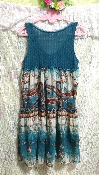 緑グリーンエスニック柄ニットトップスシフォンスカートワンピース Green ethnic pattern knit tops chiffon skirt onepiece_画像4