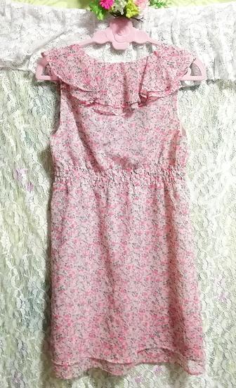 ピンク花柄フリルシフォンノースリーブチュニックワンピース Pink floral frill chiffon sleeveless tunic onepiece_画像3