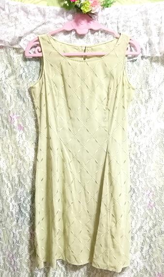 黄緑グリーンシフォン羽織カーディガンノースリーブワンピース2ピース Yellow green chiffon haori cardigan sleeveless dress 2 piece_画像8