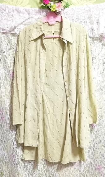 黄緑グリーンシフォン羽織カーディガンノースリーブワンピース2ピース Yellow green chiffon haori cardigan sleeveless dress 2 piece_画像5