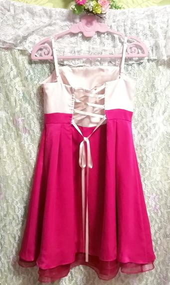 巫女風ネグリジェキャミソールワンピースドレス マゼンタオーガンジースカート Maiden style negligee camisole dress magenta skirt_画像4
