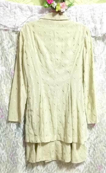 黄緑グリーンシフォン羽織カーディガンノースリーブワンピース2ピース Yellow green chiffon haori cardigan sleeveless dress 2 piece_画像6