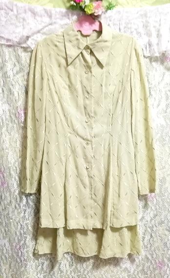 黄緑グリーンシフォン羽織カーディガンノースリーブワンピース2ピース Yellow green chiffon haori cardigan sleeveless dress 2 piece_画像7