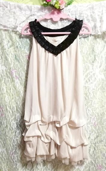 亜麻色ノースリーブチュニックドレス Flax color sleeveless tunic dress_画像4