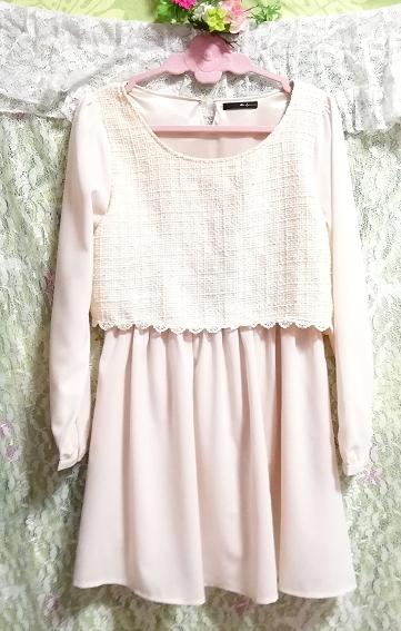 桜ピンクシフォン綿レーストップスシフォンスカートワンピース Cherry pink chiffon cotton lace tops chiffon skirt onepiece_画像1