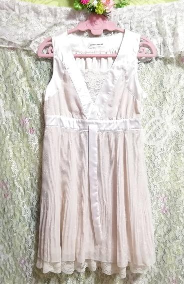Pavot cing アイボリーホワイトサテンリボンノースリーブワンピースドレス Ivory white satin ribbon sleeveless onepiece dress_画像3