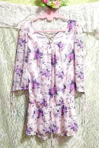 dazzlin ダズリン 白紫花柄シフォンキュロットワンピース White purple flower pattern chiffon currot onepiece_画像1