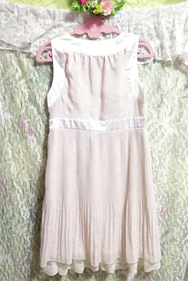 Pavot cing アイボリーホワイトサテンリボンノースリーブワンピースドレス Ivory white satin ribbon sleeveless onepiece dress_画像4