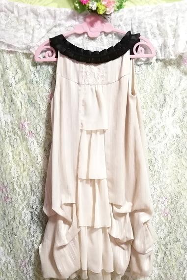 亜麻色ノースリーブチュニックドレス Flax color sleeveless tunic dress_画像5