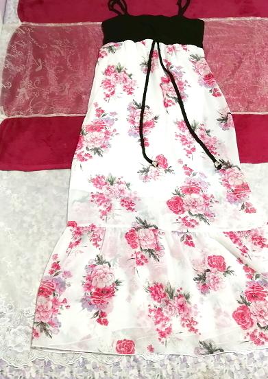 黒トップス白ピンク花柄シフォンスカートキャミソールマキシワンピース Black tops white pink floral print chiffon skirt maxi dress_画像1