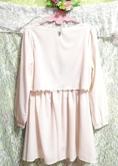 桜ピンクシフォン綿レーストップスシフォンスカートワンピース Cherry pink chiffon cotton lace tops chiffon skirt onepiece_画像2