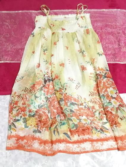 インド製シフォン亜麻色花柄キャミソールワンピース Indian chiffon flax flower pattern camisole onepiece_画像1