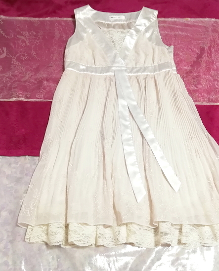Pavot cing アイボリーホワイトサテンリボンノースリーブワンピースドレス Ivory white satin ribbon sleeveless onepiece dress_画像1