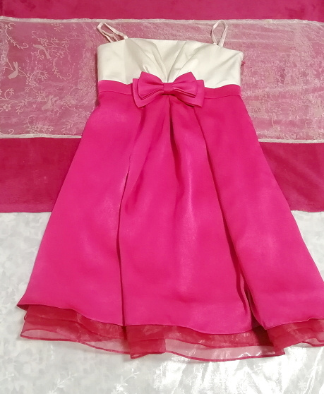 巫女風ネグリジェキャミソールワンピースドレス マゼンタオーガンジースカート Maiden style negligee camisole dress magenta skirt_画像1