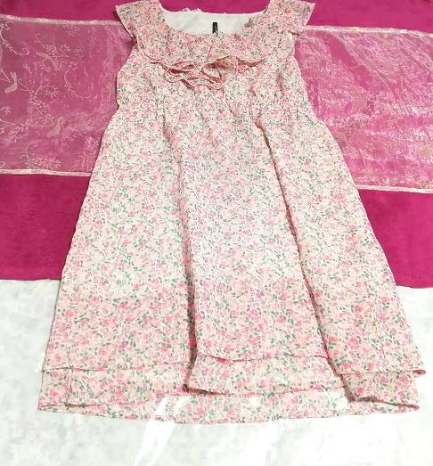 ピンク花柄フリルシフォンノースリーブチュニックワンピース Pink floral frill chiffon sleeveless tunic onepiece_画像1