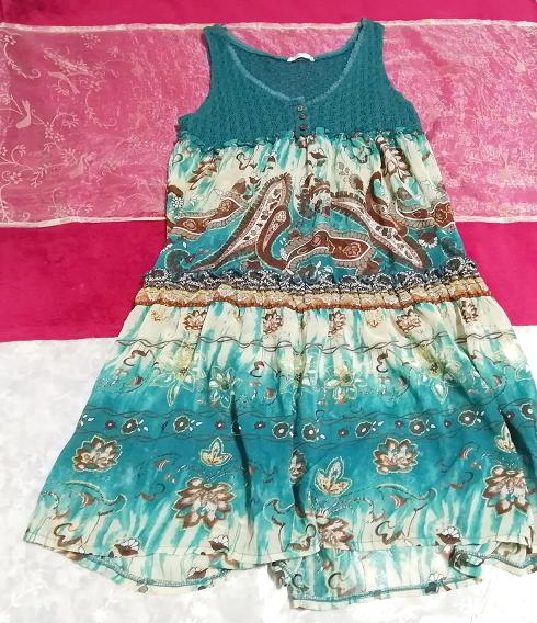 緑グリーンエスニック柄ニットトップスシフォンスカートワンピース Green ethnic pattern knit tops chiffon skirt onepiece_画像1