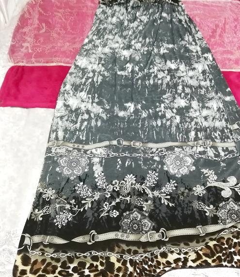 灰グレーエスニックアート絵柄マキシロングスカートワンピース Ash gray ethnic art picture maxi long skirt dress_画像2