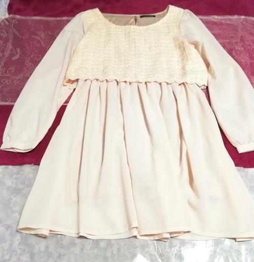 桜ピンクシフォン綿レーストップスシフォンスカートワンピース Cherry pink chiffon cotton lace tops chiffon skirt onepiece_画像4
