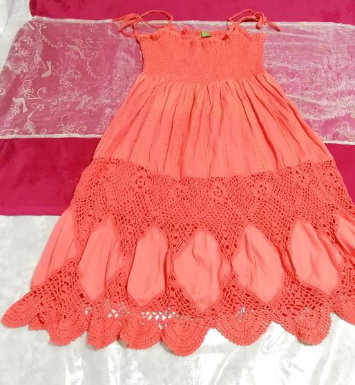 インド製赤ピンク綿コットン100%キャミソールワンピース Made in India red pink cotton 100% camisole onepiece_画像1