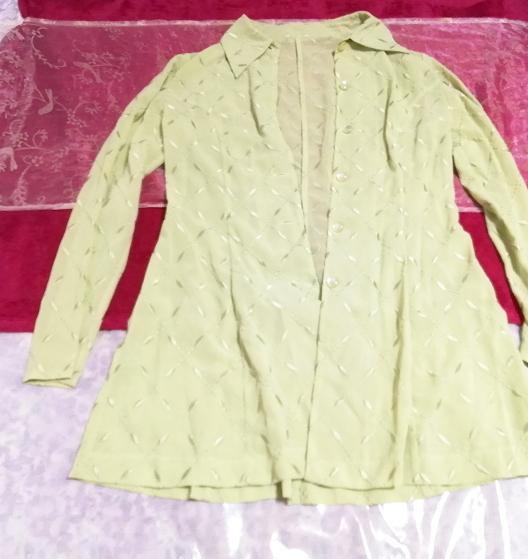 黄緑グリーンシフォン羽織カーディガンノースリーブワンピース2ピース Yellow green chiffon haori cardigan sleeveless dress 2 piece_画像4