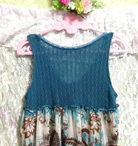 緑グリーンエスニック柄ニットトップスシフォンスカートワンピース Green ethnic pattern knit tops chiffon skirt onepiece_画像5