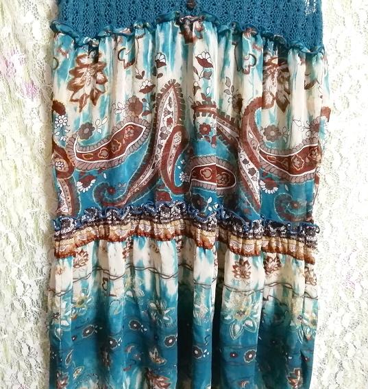 緑グリーンエスニック柄ニットトップスシフォンスカートワンピース Green ethnic pattern knit tops chiffon skirt onepiece_画像6