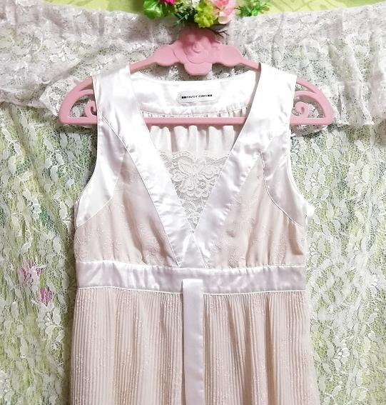 Pavot cing アイボリーホワイトサテンリボンノースリーブワンピースドレス Ivory white satin ribbon sleeveless onepiece dress_画像5