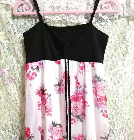 黒トップス白ピンク花柄シフォンスカートキャミソールマキシワンピース Black tops white pink floral print chiffon skirt maxi dress_画像5