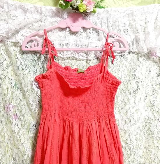 インド製赤ピンク綿コットン100%キャミソールワンピース Made in India red pink cotton 100% camisole onepiece_画像6