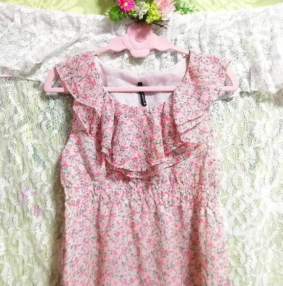 ピンク花柄フリルシフォンノースリーブチュニックワンピース Pink floral frill chiffon sleeveless tunic onepiece_画像4