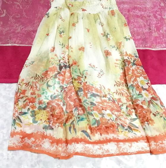 インド製シフォン亜麻色花柄キャミソールワンピース Indian chiffon flax flower pattern camisole onepiece_画像2