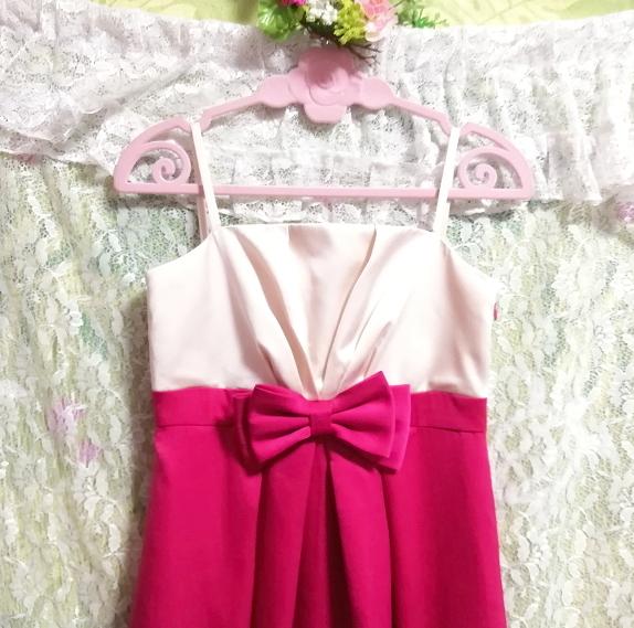 巫女風ネグリジェキャミソールワンピースドレス マゼンタオーガンジースカート Maiden style negligee camisole dress magenta skirt_画像5