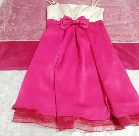 巫女風ネグリジェキャミソールワンピースドレス マゼンタオーガンジースカート Maiden style negligee camisole dress magenta skirt_画像2