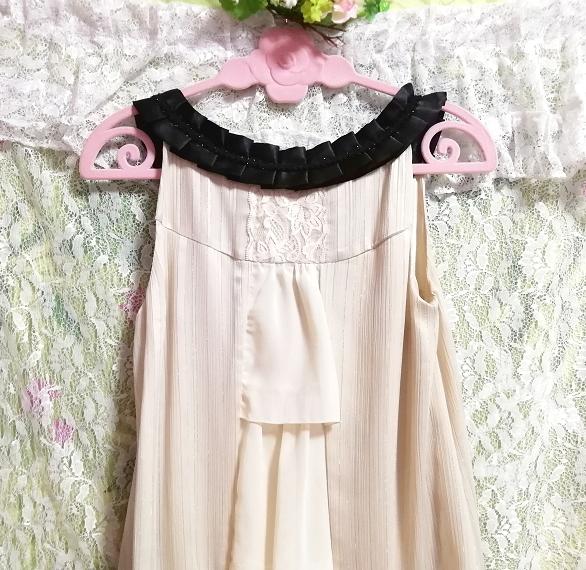 亜麻色ノースリーブチュニックドレス Flax color sleeveless tunic dress_画像7