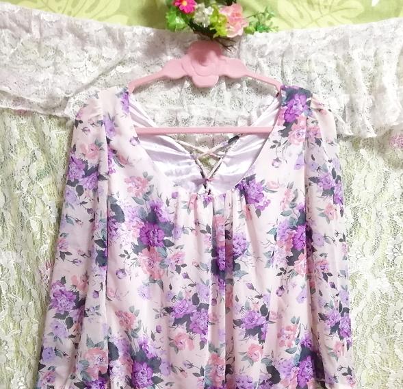 dazzlin ダズリン 白紫花柄シフォンキュロットワンピース White purple flower pattern chiffon currot onepiece_画像3