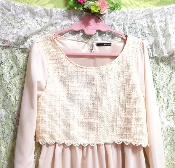 桜ピンクシフォン綿レーストップスシフォンスカートワンピース Cherry pink chiffon cotton lace tops chiffon skirt onepiece_画像3