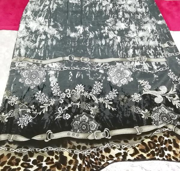 灰グレーエスニックアート絵柄マキシロングスカートワンピース Ash gray ethnic art picture maxi long skirt dress_画像3